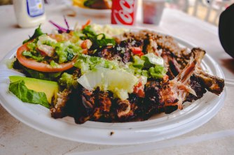 Look at this rib plate! Some of the best food on the island.